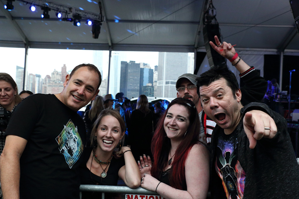 The Crystal Method posing with fans(SH)