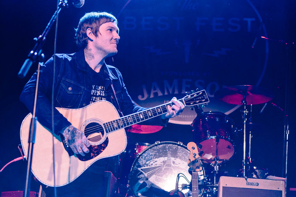 "Brian Fallon performing ""After the Gold Rush"" at Neil Fest - A Night to Celebrate the Music of Neil Young at Bowery Ballroom on September 14th, 2015 with Cabin Down Below band and tons of guests. (Photos: Sachyn Mital)."