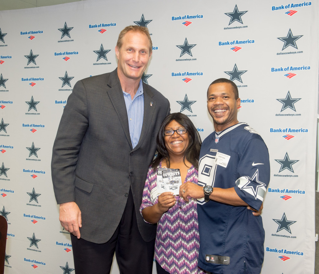 Army Veterans Trista Hopkins-Neal and Phil Robertson, received tickets to last Sunday's game in Dallas, delivered by US Air Force Veteran and former Cowboy Chad Hennings
